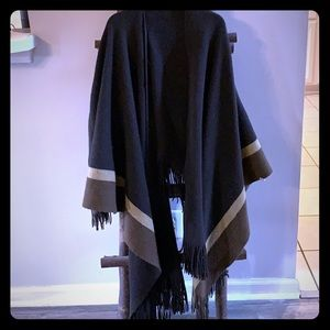 Chocolate Brown Cotton/Wool Poncho